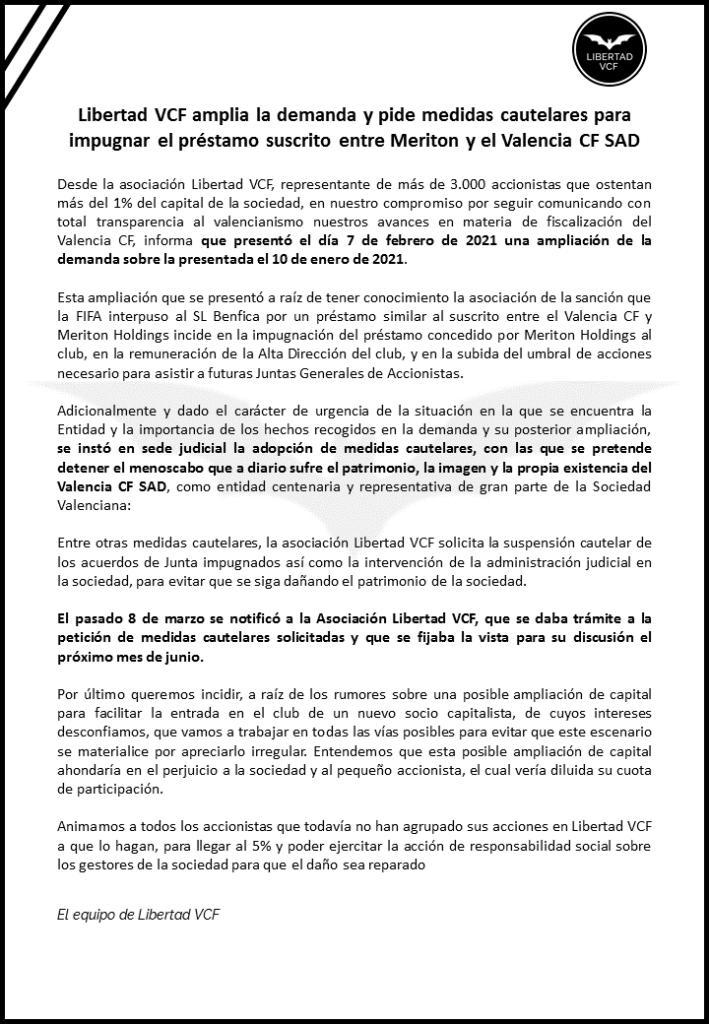 comunicado ampliacion demanda y medidas cautelares valencia cf libertad vcf